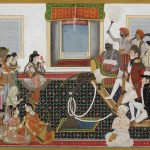 Mahadaji Sindhia entertaining a British naval officer & military officer with a Nautch by Indian Artist, Delhi, circa 1815-20, watercolour on paper, 222 x 317 mm © The British Library Board