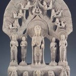 Guanyin (avalokiteshvara) Pentad, Northern Qi dynasty (550-577), sandstone with pigments and gilding, height 60 cm, unearthed in 1954 from Huata Temple in Taiyuan, Shanxi. Collection of the Shanxi Museum