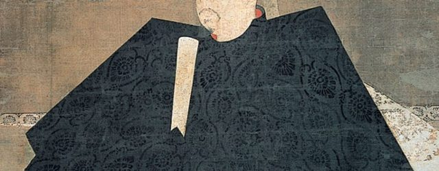 Portrait, possibly Taira no Shigemori, Kamakura period, 13th century, hanging scroll, ink and colours on silk, 143 x 112.2 cm. Collection of Jingo-ji Temple, Kyoto, entrusted to the Kyoto National Museum. National Treasure. On view 13 Sept to 13 Oct