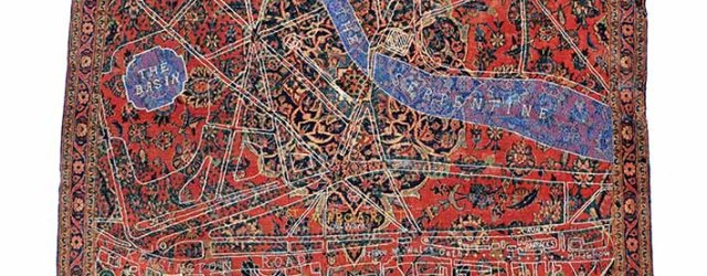 Hyde Park, Kashan 1862 by David Chalmers Alesworth (UK) Pile carpet, embroidery, 1900-1950 & 2011. Courtesy of Juan Yarur Torres, President of Fundaçion AMA. Photo: David Chalmers Alesworth