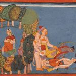 Sita in the forest grove (left), Rama and Lakshmana stricken (right), folio from the Shangri Ramayana, circa 1700-1710, India, Bahu, Jammu and Kashmir, opaque watercolours on paper, Los Angeles County Museum of Art, Gift of The Walter Foundation