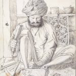 A Wood Carver, from a collection depicting craftsmen of the North-West Provinces of British India, by Lockwood Kipling, 1870 © Victoria and Albert Museum, London