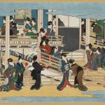 Snow at Fukagawa by Kitagawa Utamaro (1753-1806), Japan, Edo period, circa1802-6, hanging scroll, colour on paper, Okada Museum of Art, Hakone, Japan