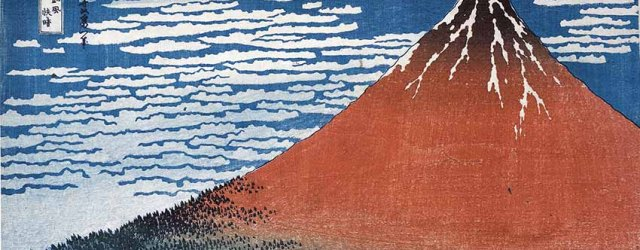Clear day with a southern breeze ('Red Fuji') from Thirty-six Views of Mt Fuji, colour woodblock, 1831 © The Trustees of the British Museum. On display from to 13 August