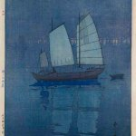 Yoshida Hiroshi; Sailing Boats — 'Night', from the series 'The Seto Inland Sea', 1926; colour woodblock print; Saint Louis Art Museum, The Margaret and Irvin Dagen Fund for Modern and Contemporary Japanese Prints in honor of Steven Owyoung
