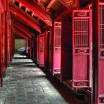 Interior of the Confucian Temple of Literature in Hanoi, first built in 1070, which also housed the Imperial Academy, the Chinese central institution of higher learning in earlier times