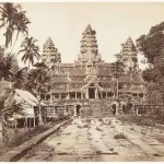 Angkor Wat (1866) by Emile Gsell, albumen print, 25 x 31.5 cm. Gsell's photographs of Angkor Wat show the state of preservation of the monument in the 1860s, despite centuries of neglect, a naga balustrade still remains upright, while the iconic towers appear largely undamaged. Many of the roofs of the courtyard galleries and rows of pillars and elaborately carved pediments also remain intact