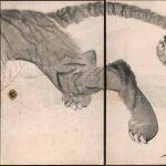 Dragon (1786) by Nagasawa Rosetsu (1754-1799), detail from a set of six sliding panels, ink on paper, Muryo-ji, Kushimoto. Important Cultural Property