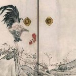 Chicken and Roses (1786) by Nagasawa Rosetsu, detail from a set of eight sliding panels, ink and light color on paper, Muryōji, Kushimoto. Important Cultural Property