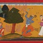 Krishna Idolised, folio from the Guler Gitagovinda series of 1730, by Manaku of Guler, Pahari region, India, Museum Rietberg, Collection of Horst Metzger