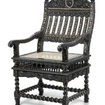 Carved ebony and invory inlaid armchair, crest of Irish FitzGerald Family, the Knights of Glin, Coromandel Coast, Madras, late 17th century, Roell Fine Art
