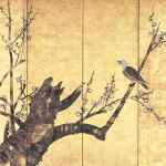 Bird on the Branch of a Plum Tree by Nakamura Hochu, Edo period, 18th century, six-panel folding screen, ink and colours on gold leaf, Hosomi Museum, Kyoto