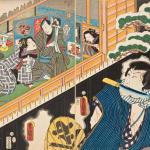 From the play The Love Affair of Otomi and Scarfaced Yosaburo,1857, Utagawa Kunisada,Woodblock print, Phillips Library Collection, Peabody Essex Museum.