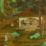 Detail of Playing the Harp, after Qiu Ying, by Qiu Zhu, Ming dynasty, mid-16th century, hanging scroll, ink and colours on silk, 31 3/8 × 11 1/4 in, The Walters Art Museum, Baltimore. Photo: Walters Art Museum