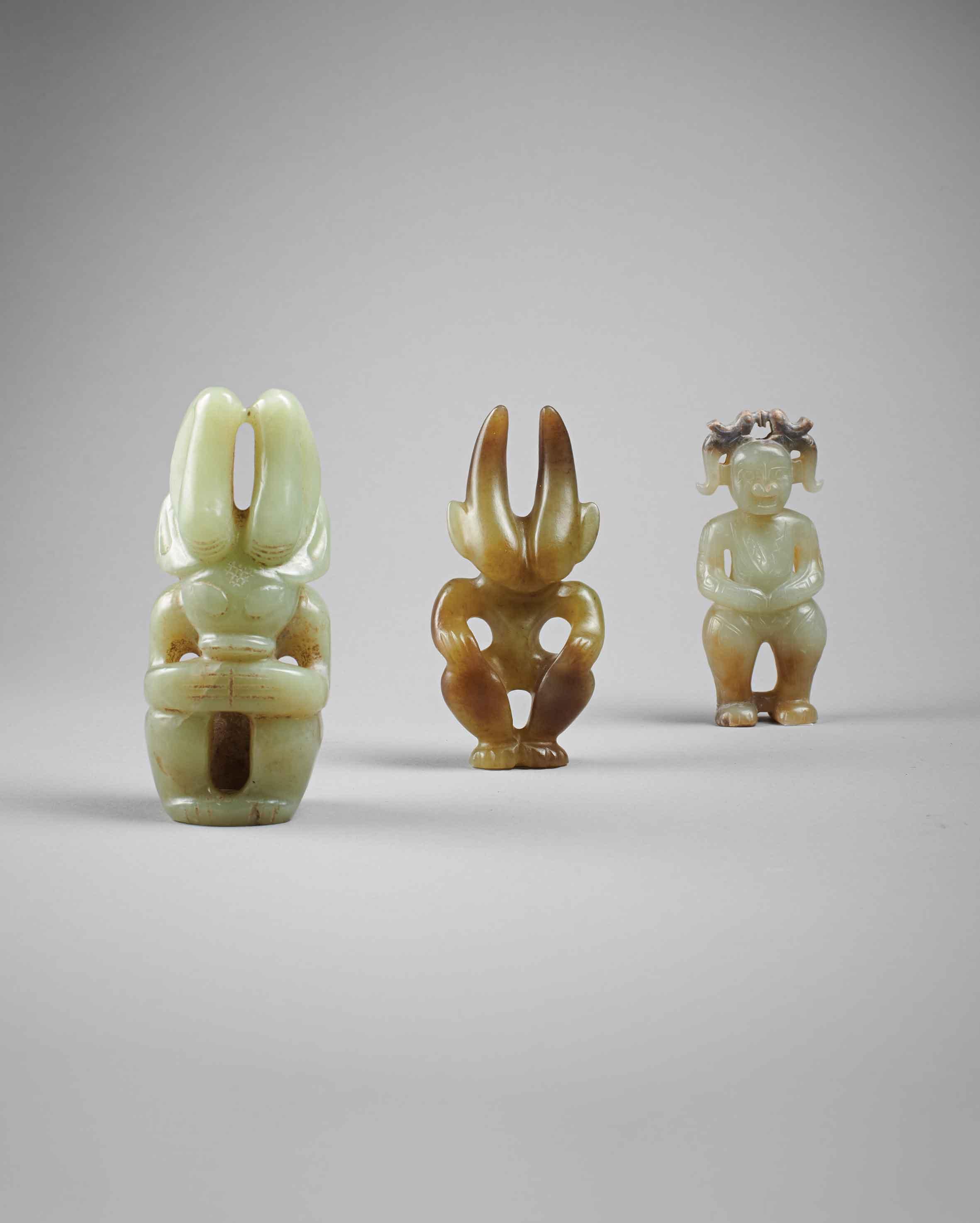 three-archaic-chinese-jade-figures