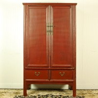 Antique Chinese Red Brown Noodle Cabinet Wedding Wardrobe