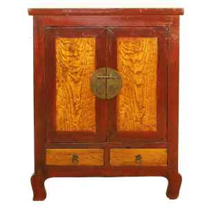 Antique Asian Red 2 Door cabinet 34 W 44 T Burl wood accents