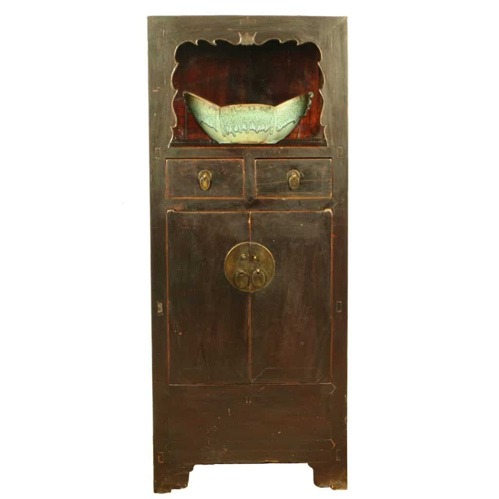 Antique Chinese Tall Display Linen Cabinet 27 Inch Wide