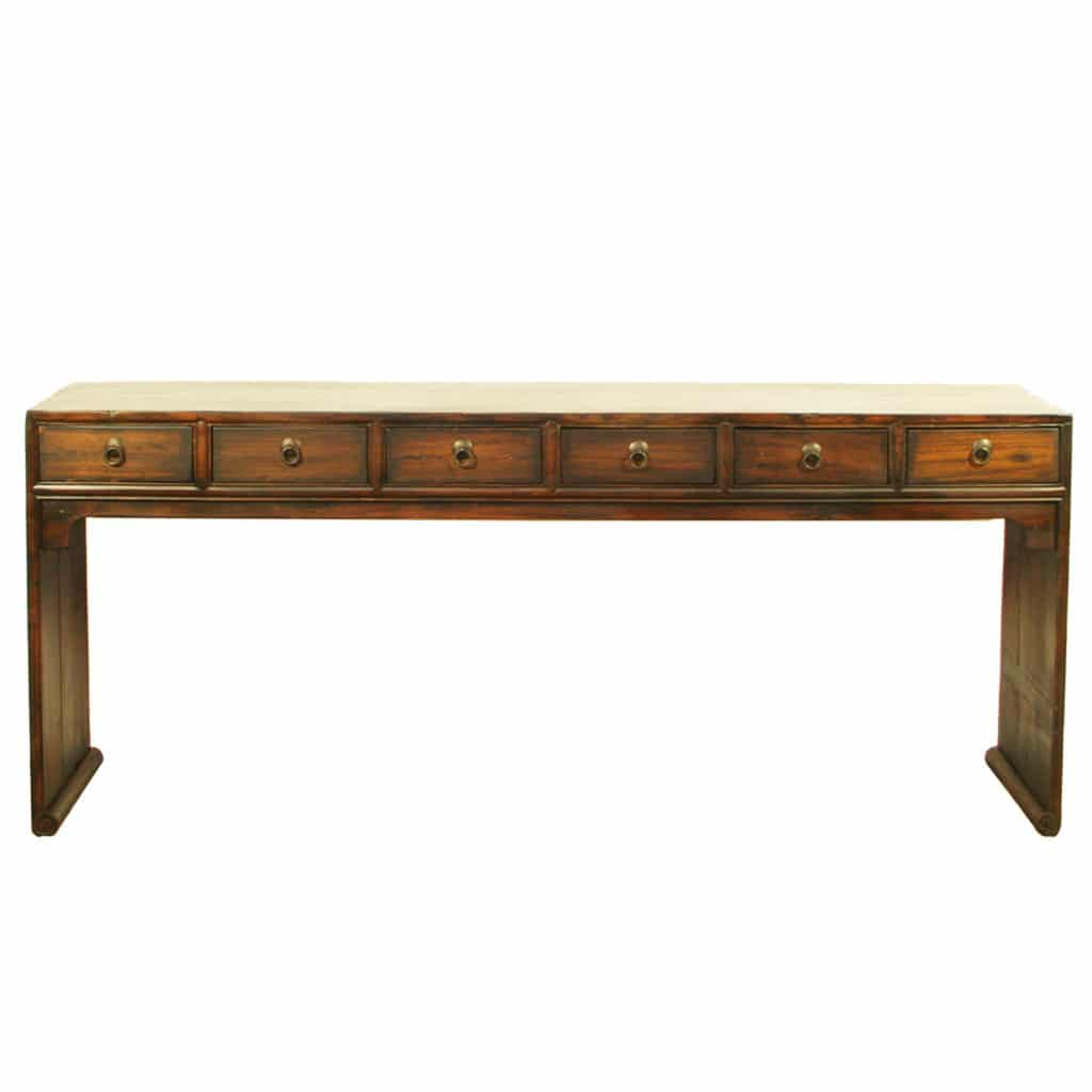 Asian 79 inch long 6 drawer console table brown lacquer asian 79 inch long 6 drawer console table geotapseo Image collections