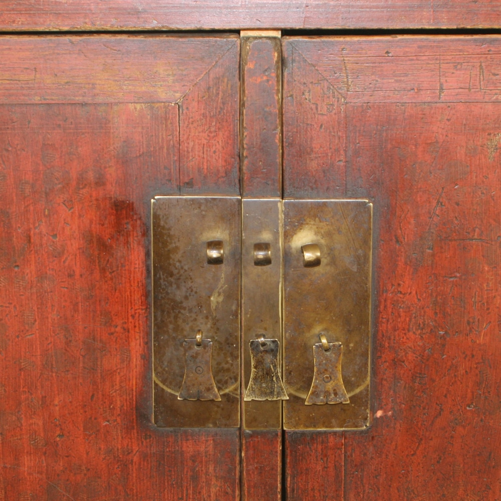 - Antique Chinese 62 Inch Red 2 Door Buffet Cabinet