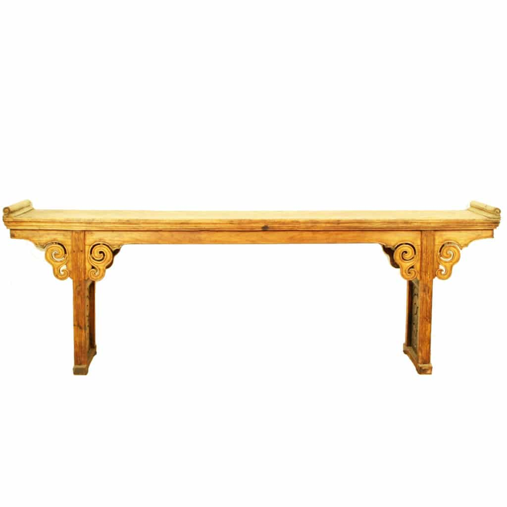 Long Sofa Table: Antique Chinese 104 Inch Long Altar Sofa Table, Light Wood