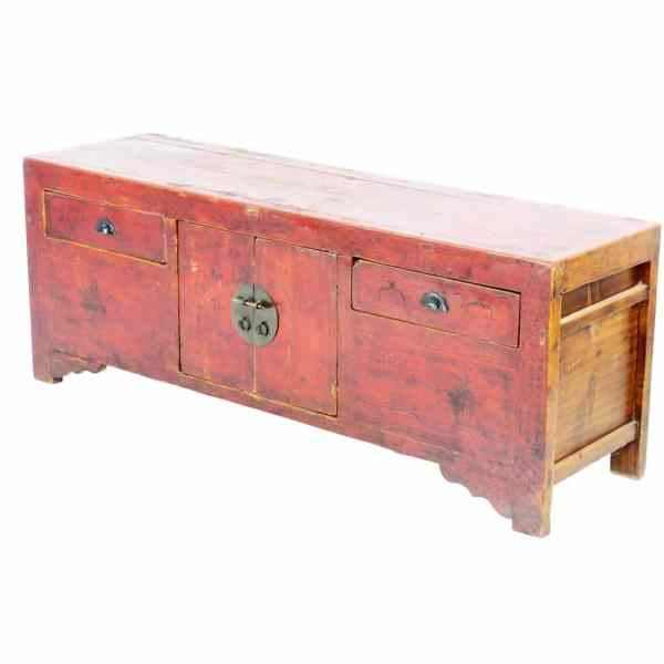 Antique Chinese 5 ft Long Red Low Kang Table Cabinet