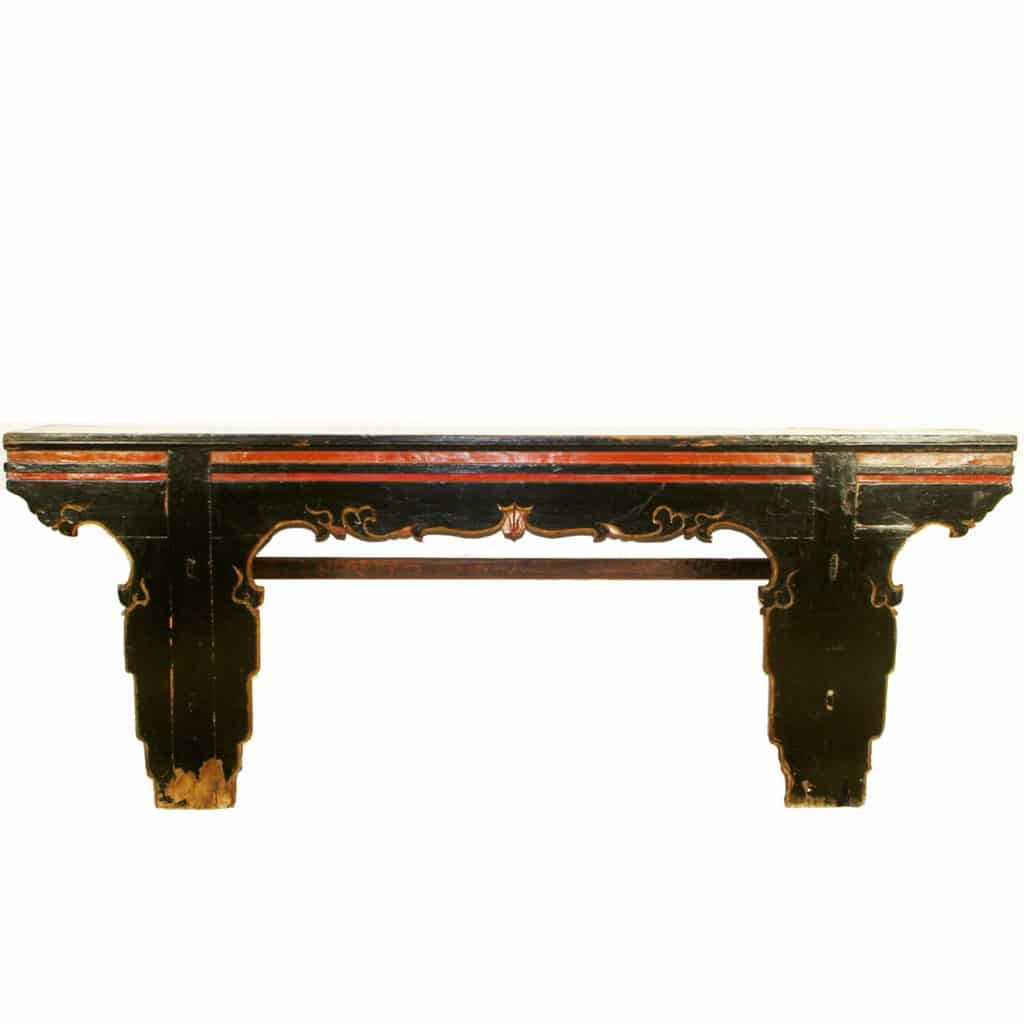 Antique chinese 92 inch long black console table asian altar antique chinese 92 inch long black console table geotapseo Gallery
