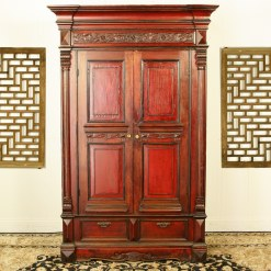 Rare Antique Red Chinese Wardrobe Wedding Cabinet