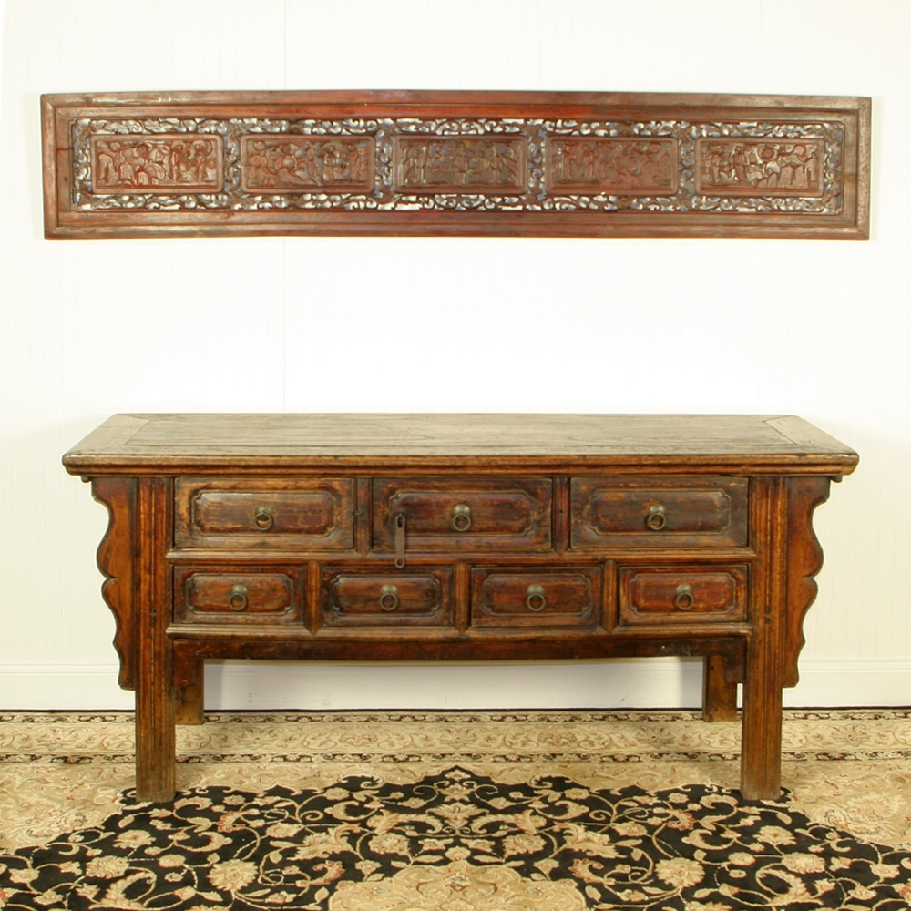 Antique chinese 68 inch long console table 7 drawers geotapseo Gallery