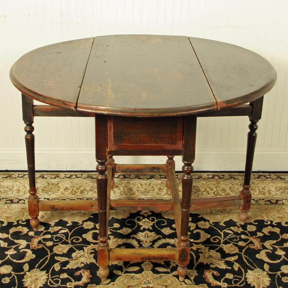 Chinese 42 inch Round Drop Leaf Gate Leg Table