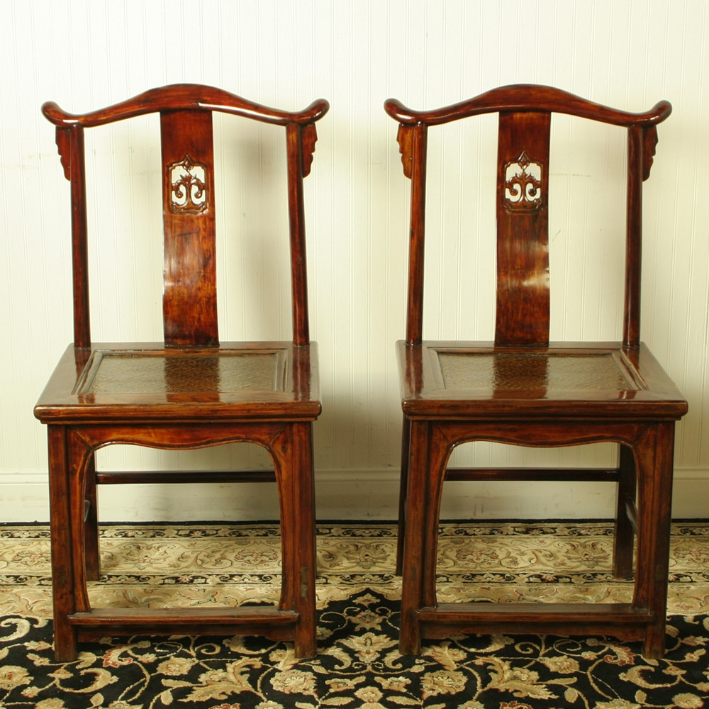 Antique Chinese Yoke Back Official Hat Chairs - Antique Chinese Yoke Back Official Hat Chairs, Pair