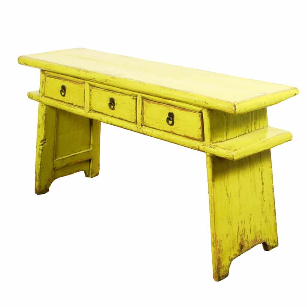 65 Inch Long Chinese Country Table Yellow Green Lacquer Finish