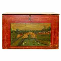 Antique Chinese Red Front Trunk Hand Painted Scenes