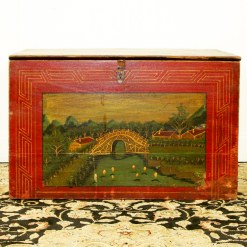 Antique Chinese Red Front Trunk with Hand Painted Scene