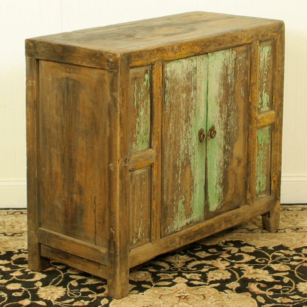 """Rustic Antique White Kitchen Cabinets: Antique Chinese Rustic Blue Green Cabinet Vanity 37"""" W, 33"""" T"""
