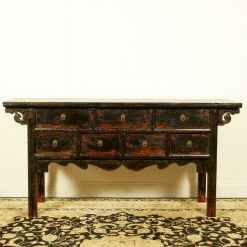 64 inch Long 7 drawer Console table Antique Black