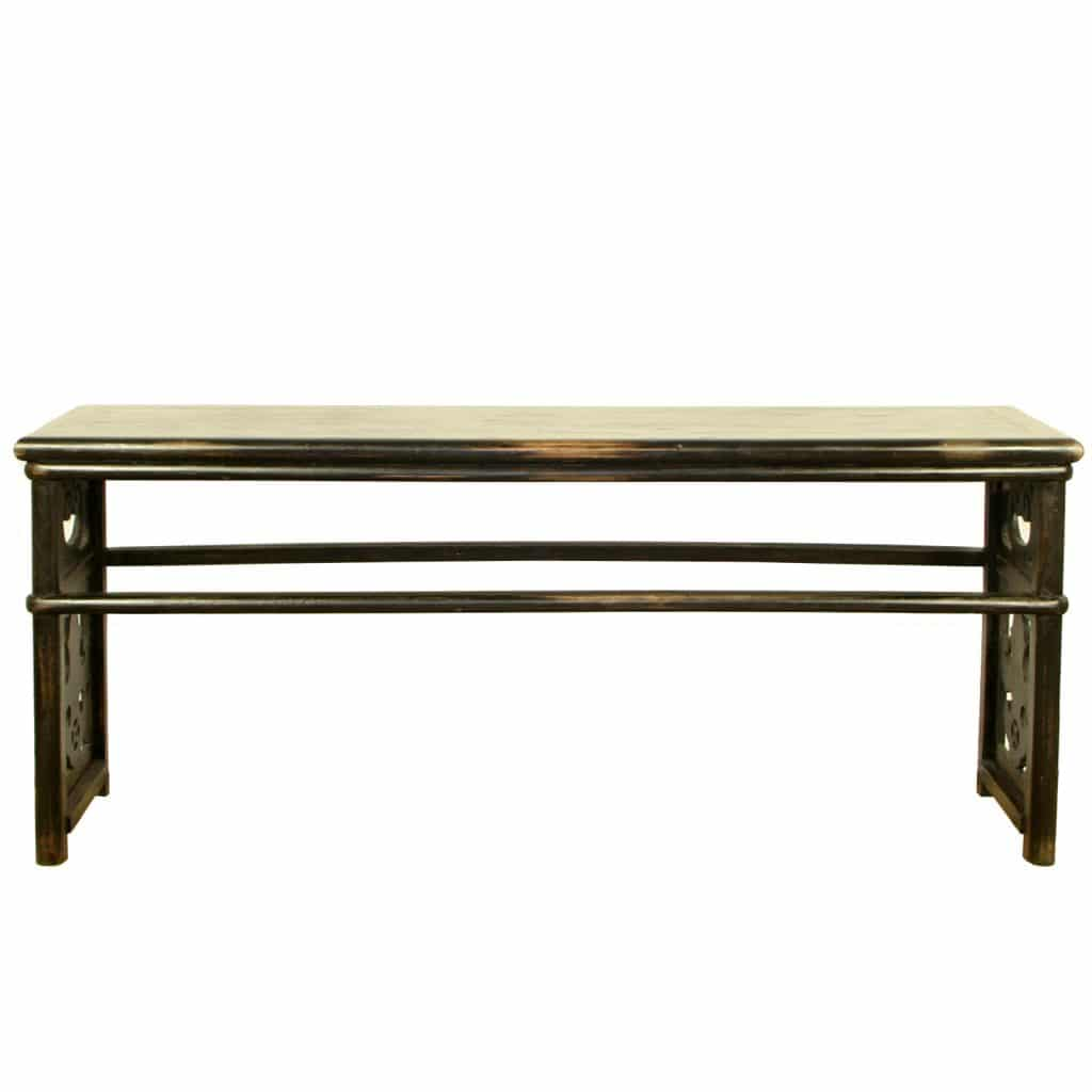 black lacquer sofa table beige color chinese 79 inch long rare carved antique asian walnut hall
