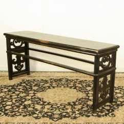 Black Lacquer Sofa Table West End Expandable Chinese 79 Inch Long