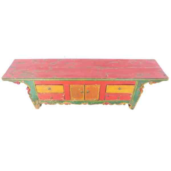 Antique Chinese 63 Inch Long Kang Table Multi color