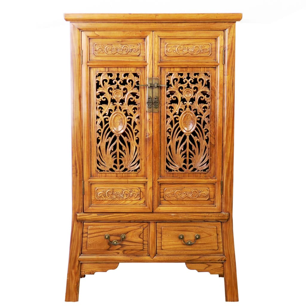 Delicieux Chinese Carved 2 Door Elm Wood Cabinet