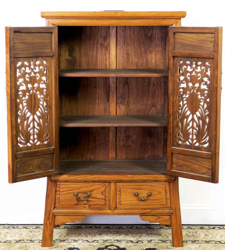 Chinese Carved 2 Door Elm Wood Cabinet 53 Tall Asian Cabinet