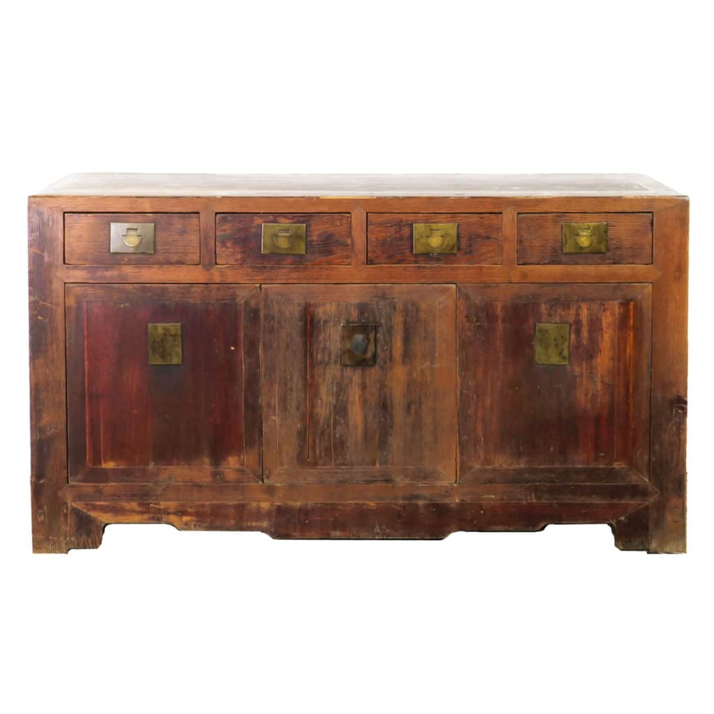 Antique Chinese 62 Inch Long Buffet Sideboard Cabinet