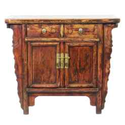 Antique Chinese 2 Door Elm Cabinet Vanity