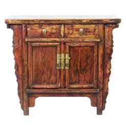 Antique Chinese 2 Door Elm Cabinet Vanity