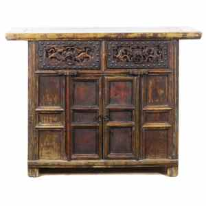 43 inch Wide Antique Chinese 2 Door Cabinet Vanity