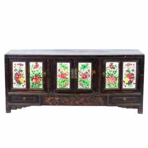 Antique Chinese 61 inch 4 door Cabinet Coffer with colorful tile panels
