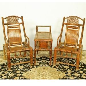 Antique Chinese Bamboo Table Set 2 Chairs & Antique Chinese Bamboo Table Set 2 Chairs. Unusual Asian Tea Table Set