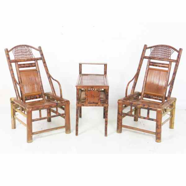 Antique Chinese Bamboo Tea Table Set 2 Chairs