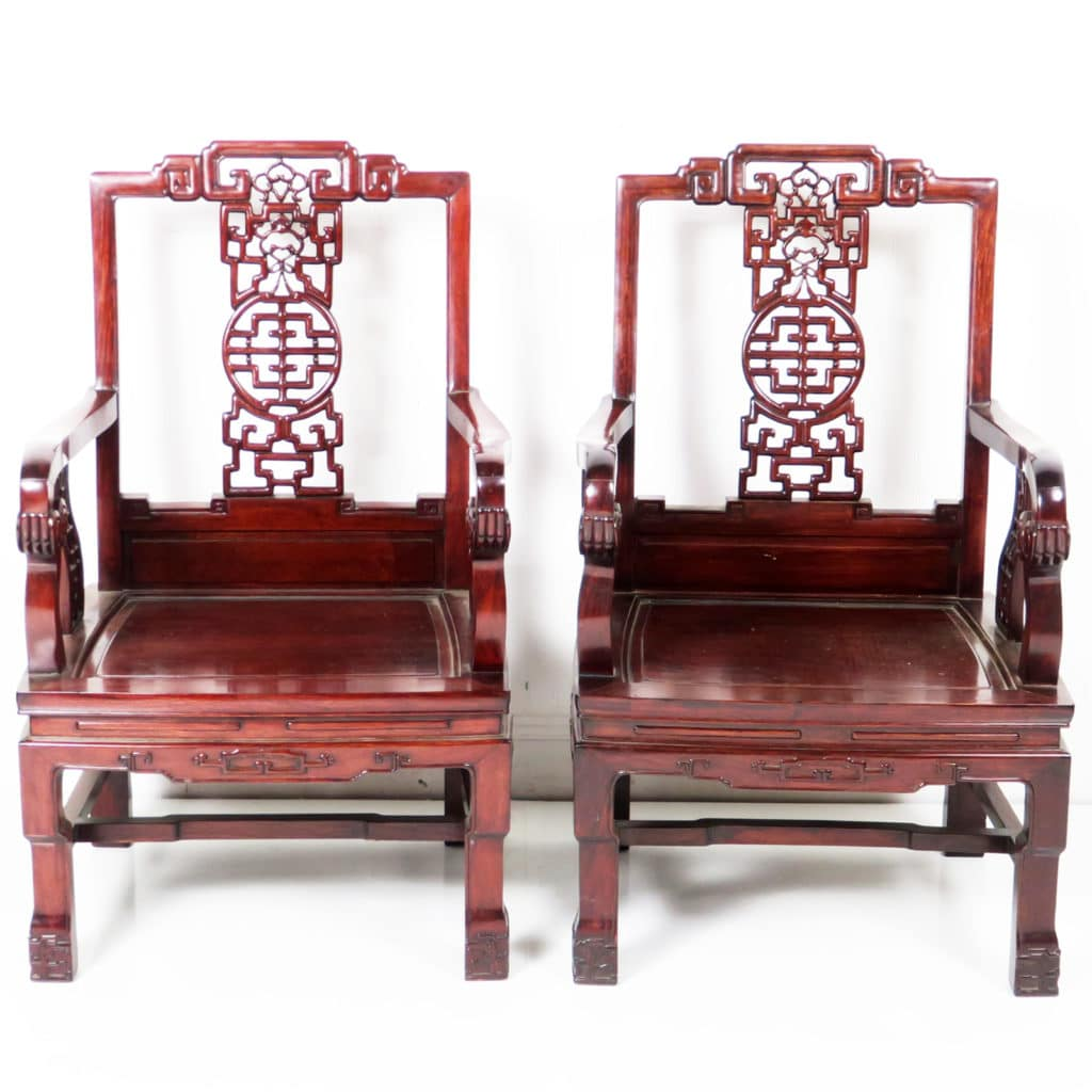 - Vintage Chinese Pair Ming Style Carved Rosewood Arm Chairs