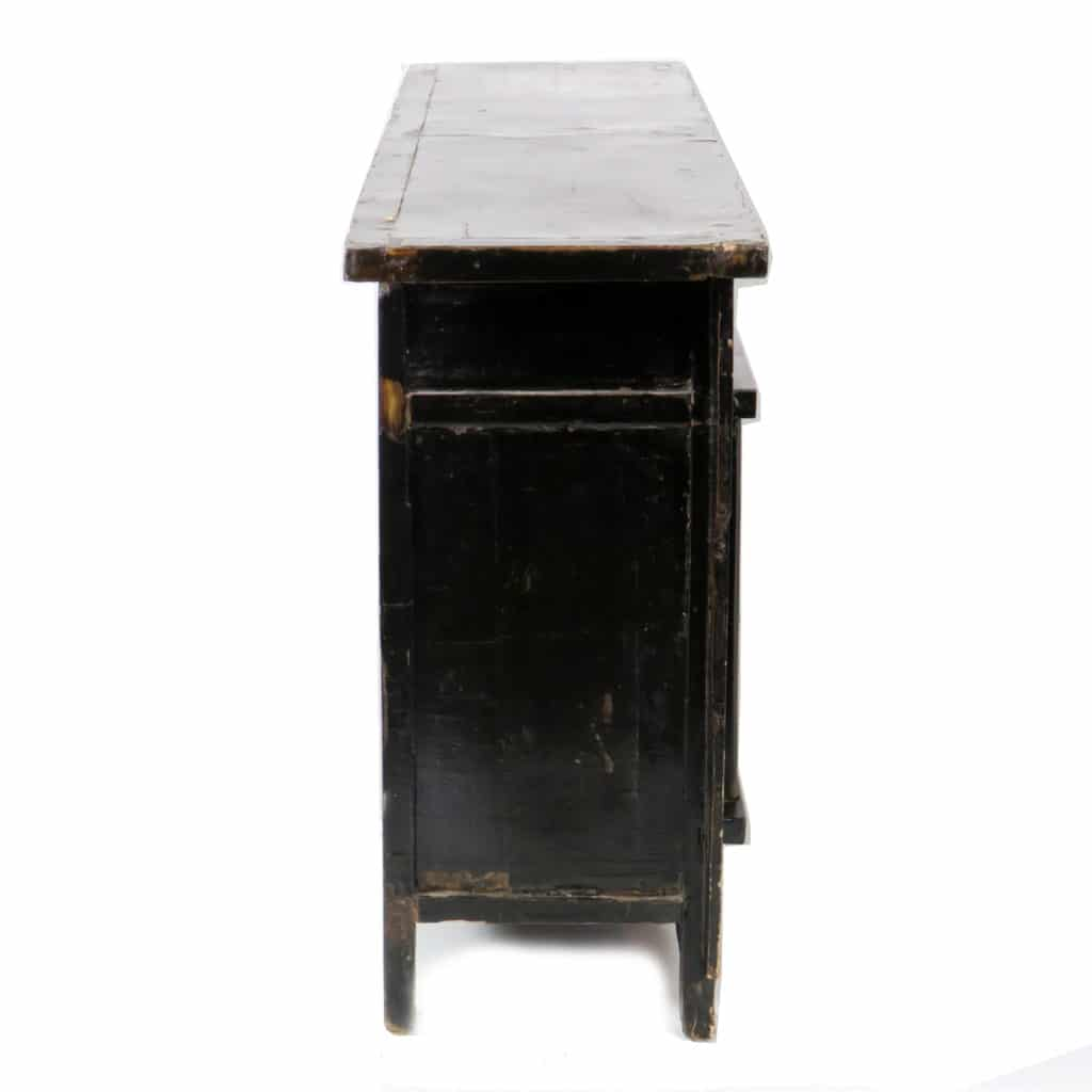 antique chinese 67 inch black lacquer sideboard asian 4 door buffet cabinet. Black Bedroom Furniture Sets. Home Design Ideas